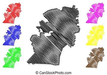 skiss, klottra, umgungundlovu, pietermaritzburg, maritzburg, afrika, illustration, stad, province), syd, kwazulu-natal, vektor, rsa, karta, (republic, eller