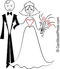 skiss, par, brudgum, brud, vektor, love: