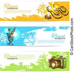 skiss, sätta, holoday, färgrik, resa, hand, tropisk, plaska, backgrounds., illustrationer, oavgjord, baner, baner