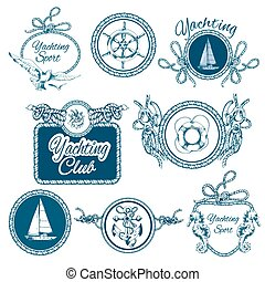 skiss, sätta, symboler, segling