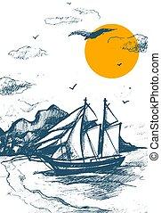 skiss, silhuett, illustration., segla, segling, tävlings-, yacht, semester, hand, idea., yachts., vektor, hav, regatta, oavgjord, strand, sailing-ship