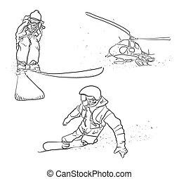 skissar, klotter, snowboarding, skidåkning, helikopter