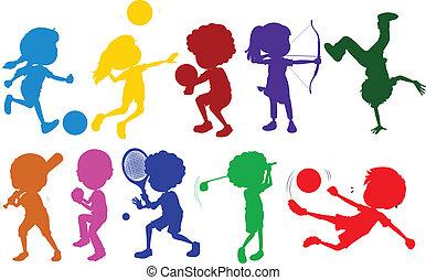 skissar, olik, ungar sport, färgad, leka