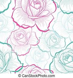 skissera, färg, mönster, seamless, ro, vektor, bakgrund, vit