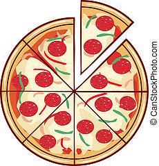 skiva, illustration, pizza