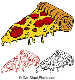 skiva, saftig, pizza