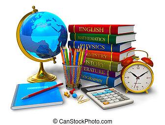skola, begrepp, utbildning, baksida