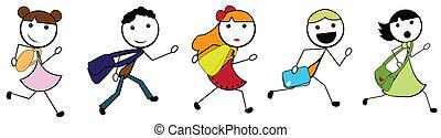 skola, gå, barn, tecknad film, käpp