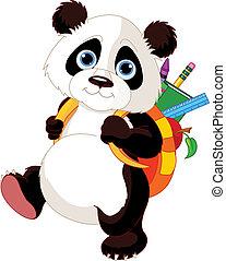 skola, gå, söt, panda