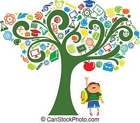 skola, ikonen, träd, -, baksida, utbildning