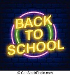 skola, neon, baksida, illustration, underteckna, mörk, vektor, bakgrund, tegelsten