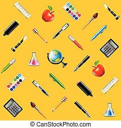 skola, seamless, gul, vektor, bakgrund, redskapen