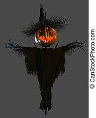 skrämmande, halloween, fågelskrämma