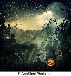 skrämmande, movie., abstrakt, halloween, bakgrunder, design, din