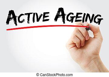 skrift, markör, hand, aktiv, åldras