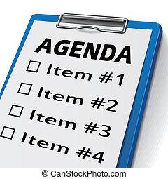 skrivplatta, dagordning