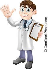 skrivplatta, tecknad film, holdingen, läkare