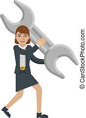 skruvnyckel, holdingen, affärsverksamhet kvinna, skiftnyckel, maskot