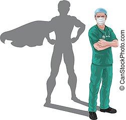 skugga, toppen, sköta, hjälte, superhero, läkare