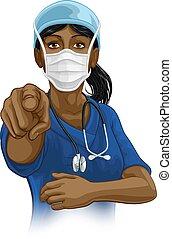 skura, kvinna, likformig, läkare, sköta, eller, pekande