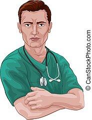 skura, sköta, läkare, stetoskop, eller