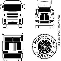 skurkrolluppsättning, service, ikonen, bil, illustration, vektor, lastbil