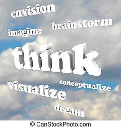 sky, -, idéer, ord, inbilla sig, färsk, tänka, drömmar