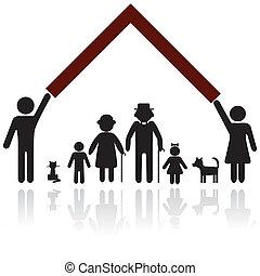 skydd, silhuett, familj, folk