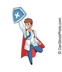 skydda, flygning, toppen, läkare