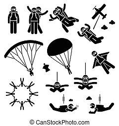 skydiving, skydives, skydiver