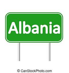skylt., albanien, väg