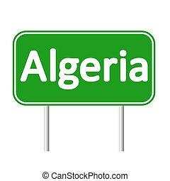 skylt., algeriet, väg