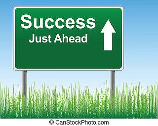 skylt., framgång, väg