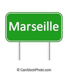 skylt., marseille, väg