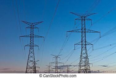 skymning, transmission, pylons), står hög, elektrisk, (electricity