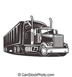 släpvagn, amerikan, svart, vit, lastbil, illustration