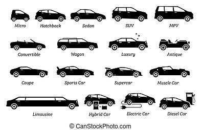 slagen, bil, olik, lista, icons.