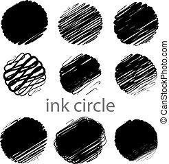 slaglängder, grunge, (individual, borsta, sätta, vektor, cirkel, objects).
