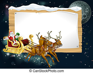 sleigh, jultomten, jul, bakgrund