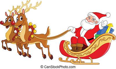 sleigh, jultomten