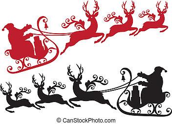 sleigh, ren, jultomten
