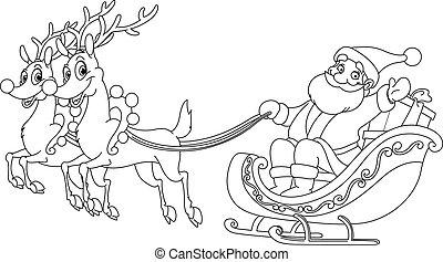 sleigh, skissera, jultomten