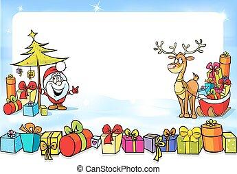 sleights, claus, -, jultomten, jul, vektor, många, ram, ren, rolig, gåvor