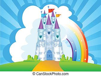 slott, kort, inbjudan, magi