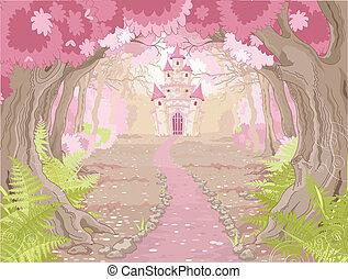 slott, landskap, magi