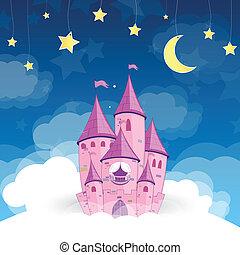 slott, vektor, dröm, prinsessa
