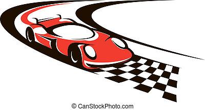 slut, bil, fortkörning, korsning, fodra, tävlings-