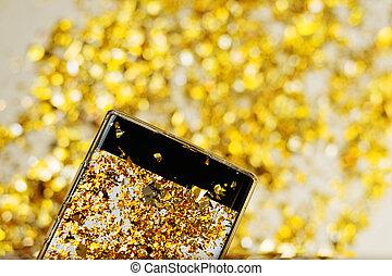 smartphone, gyllene, screen., foto, konfetti