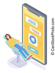 smartphone., medicin, dental, flicka, begrepp, tandläkare, direkt, tecknad film, konsultera, försäkring