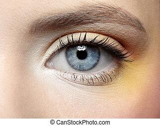 smink, ögon, flicka, zon